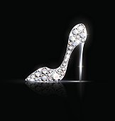 black background and the abstract jgolden ewelry shoe with crystals