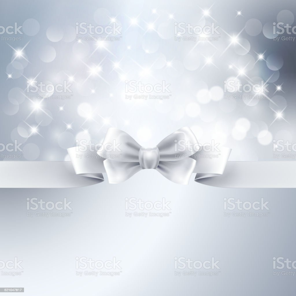 Abstract silver light background with white ribbon vector art illustration