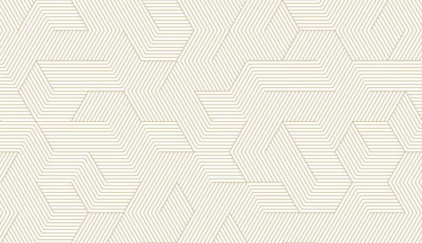 abstrakcyjny prosty geometryczny wzór bez szwu wektorowy ze złotą teksturą linii na białym tle. lekka nowoczesna prosta tapeta, jasne tło płytek, monochromatyczny element graficzny - linia stock illustrations