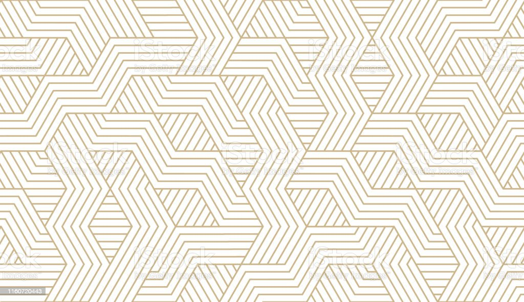 Abstract simple geometric vector seamless pattern with gold line texture on white background. Light modern simple wallpaper, bright tile backdrop, monochrome graphic element - Векторная графика Абстрактный роялти-фри