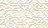 Abstract simple geometric vector seamless pattern with gold line texture on white background. Light modern simple wallpaper, bright tile backdrop, monochrome graphic element.