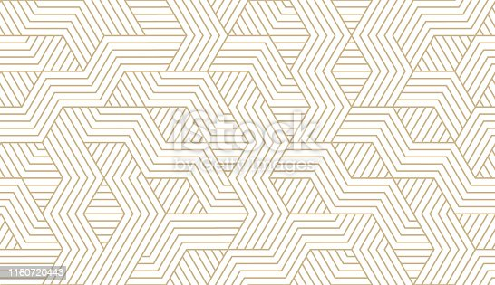 istock Abstract simple geometric vector seamless pattern with gold line texture on white background. Light modern simple wallpaper, bright tile backdrop, monochrome graphic element 1160720443