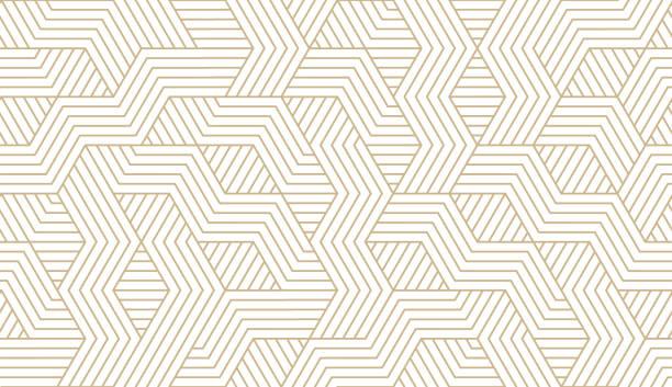 흰색 배경에 골드 라인 질감추상 간단한 기하학적 벡터 원활한 패턴. 빛 현대 간단한 벽지, 밝은 타일 배경, 흑백 그래픽 요소 - 모던 양식 stock illustrations