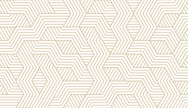 abstract simple geometric vector seamless pattern with gold line texture on white background. light modern simple wallpaper, bright tile backdrop, monochrome graphic element - wzory i tła stock illustrations