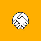 Abstract simple handshake icon. Two hands together. Trust, friendship, partnership, agreement, business, success, money, deal, contract, team, symbol icon.