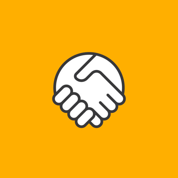 Abstract simple handshake icon. Two hands together. Trust, friendship, partnership, agreement, business, success, money, deal, contract, team, symbol icon. Abstract simple handshake icon. Two hands together. Trust, friendship, partnership, agreement, business, success, money, deal, contract, team, symbol icon. dealing cards stock illustrations