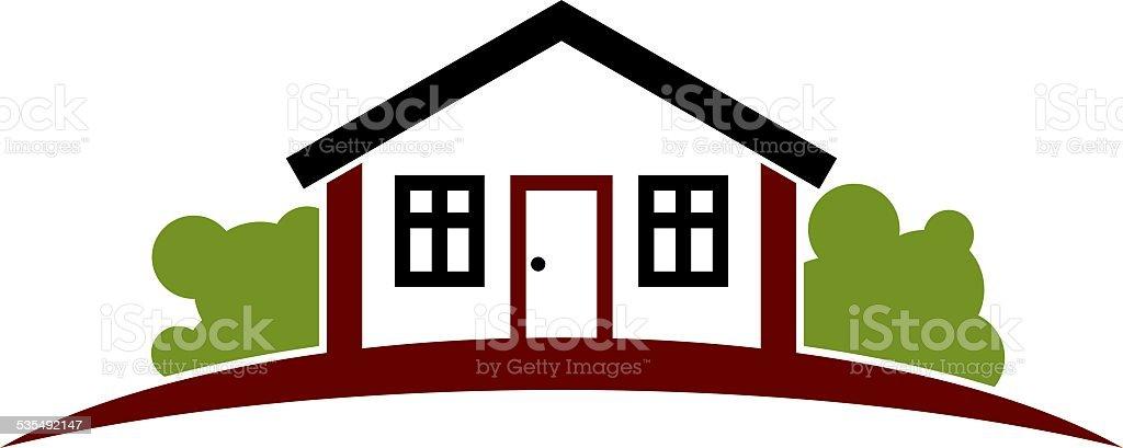 Abstrakte Einfachen Haus Mit Horizont Linie. Grafik Design Lizenzfreies  Abstrakte Einfachen Haus Mit Horizont Linie
