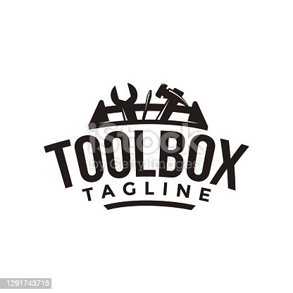 istock Abstract simple industrial mechanic toolbox icon vector on white background 1291743715