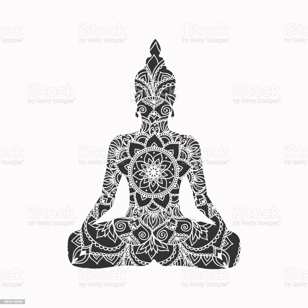 Abstract sitting Buddha silhouette. Vector illustration vector art illustration