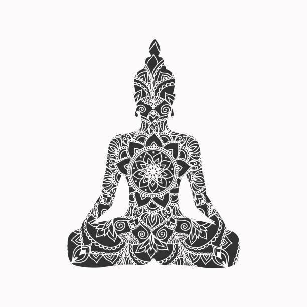 abstract sitting buddha silhouette. vector illustration - buddha stock illustrations, clip art, cartoons, & icons