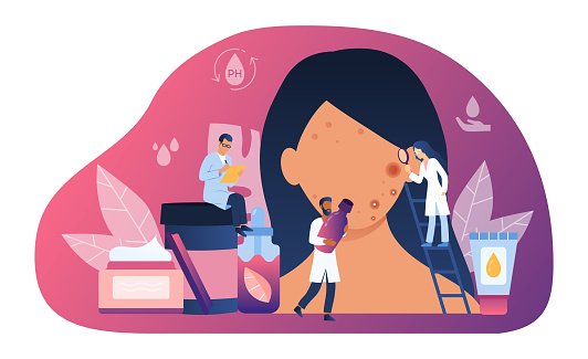 Abstract skin care concept with tiny people