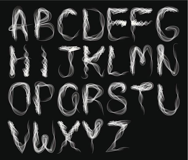tło dym alfabet-b & w - dym stock illustrations