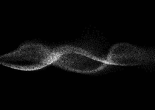抽象的煙熏波向量背景。納米與三維粒子動態流 - 粒子 幅插畫檔、美工圖案、卡通及圖標