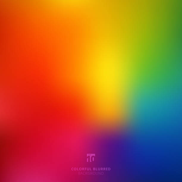 abstract smooth blurred colorful bright rainbow color gradient mesh background - double exposure stock illustrations
