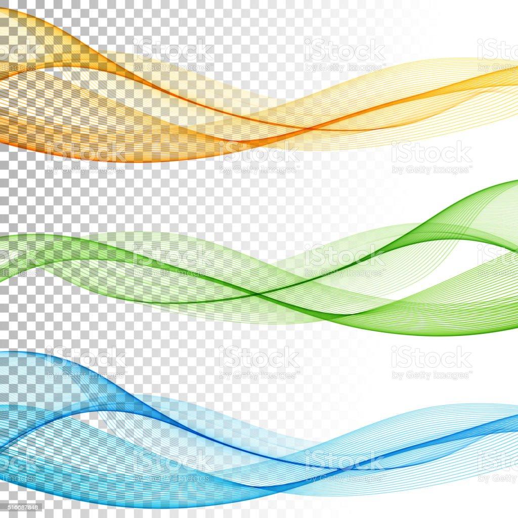 抽象的なベクトルの色の波に透明背景セット - くねくねしたのベクター