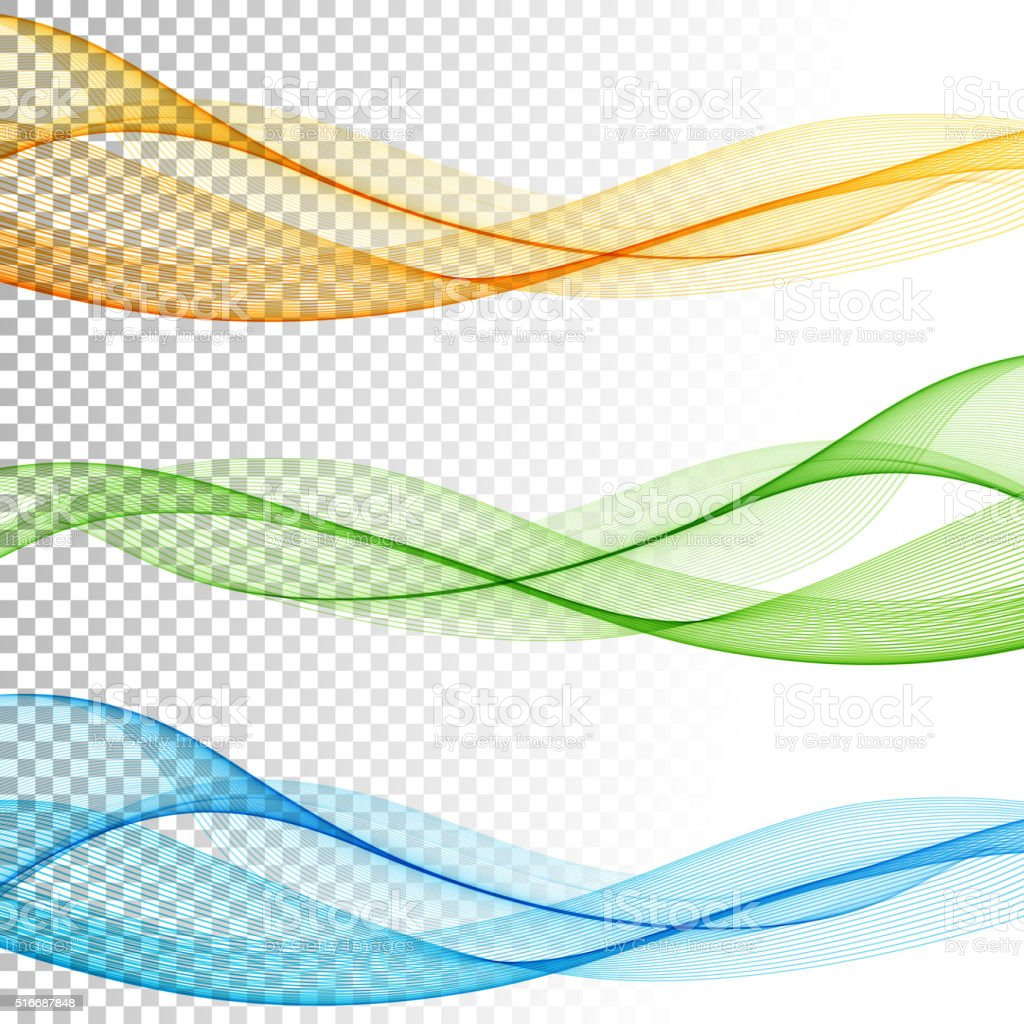 Abstract smooth color wave vector set on transparent background vector art illustration