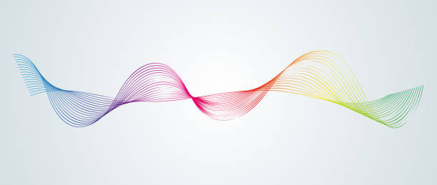 abstract smooth curved lines design element technological background with a line in the form of a wave stylization of a digital equalizer smooth flowing wavy stripes of a rainbow made by blends vector - sound wave stock illustrations