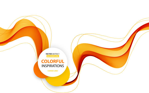 abstract smooth wave motion illustration - orange color stock illustrations