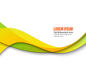 Abstract smooth color wave vector. Curve flow orange motion illustration. Orange and green wave