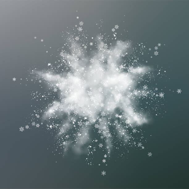 Abstract Snow Explosion Vector snow explosion. Abstract design of white powder transparent cloud and snowflakes. Blast of white powder ice stock illustrations