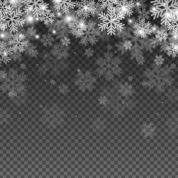 abstract snowflakes overlay effect - double exposure stock illustrations