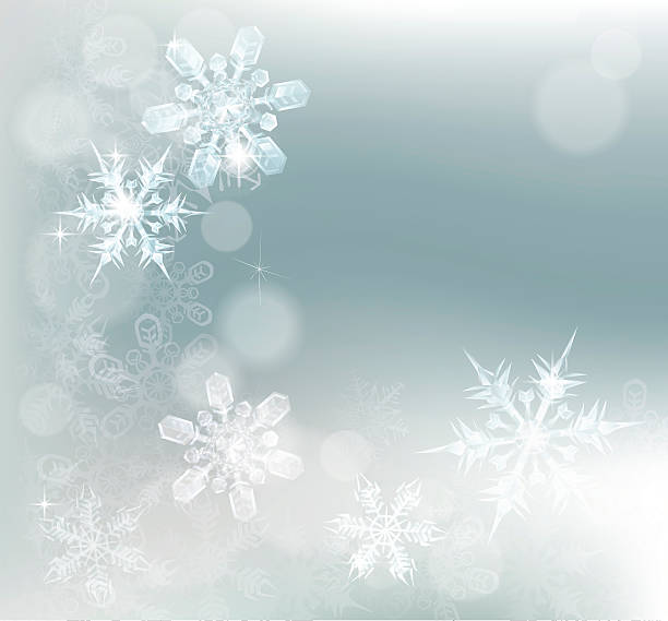 Abstract Snowflakes Snow Background Blue silver abstract snowflakes snow flakes Christmas or New Year festive winter design background. ice crystal stock illustrations