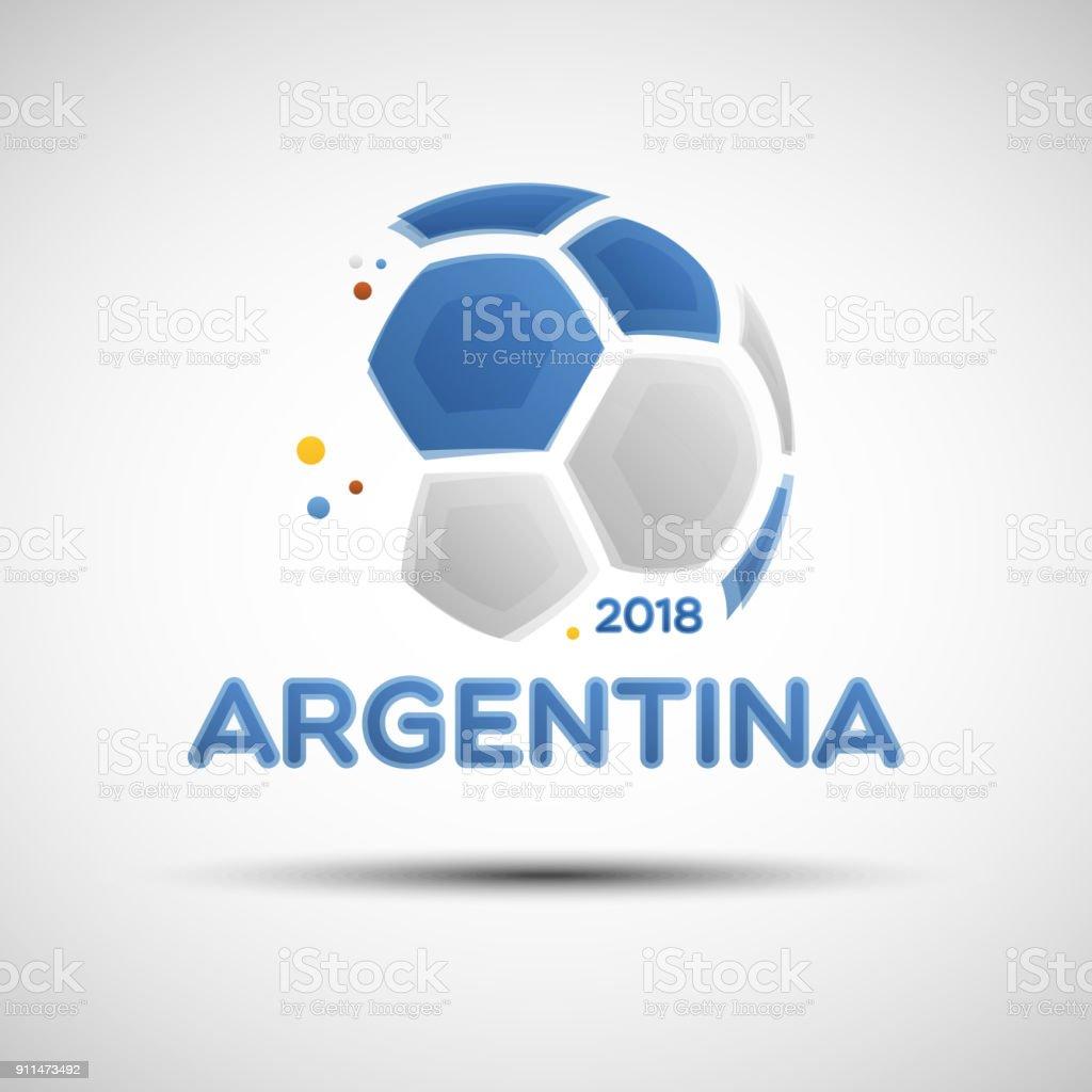 Balón de fútbol abstractos con colores de la bandera nacional Argentina - ilustración de arte vectorial