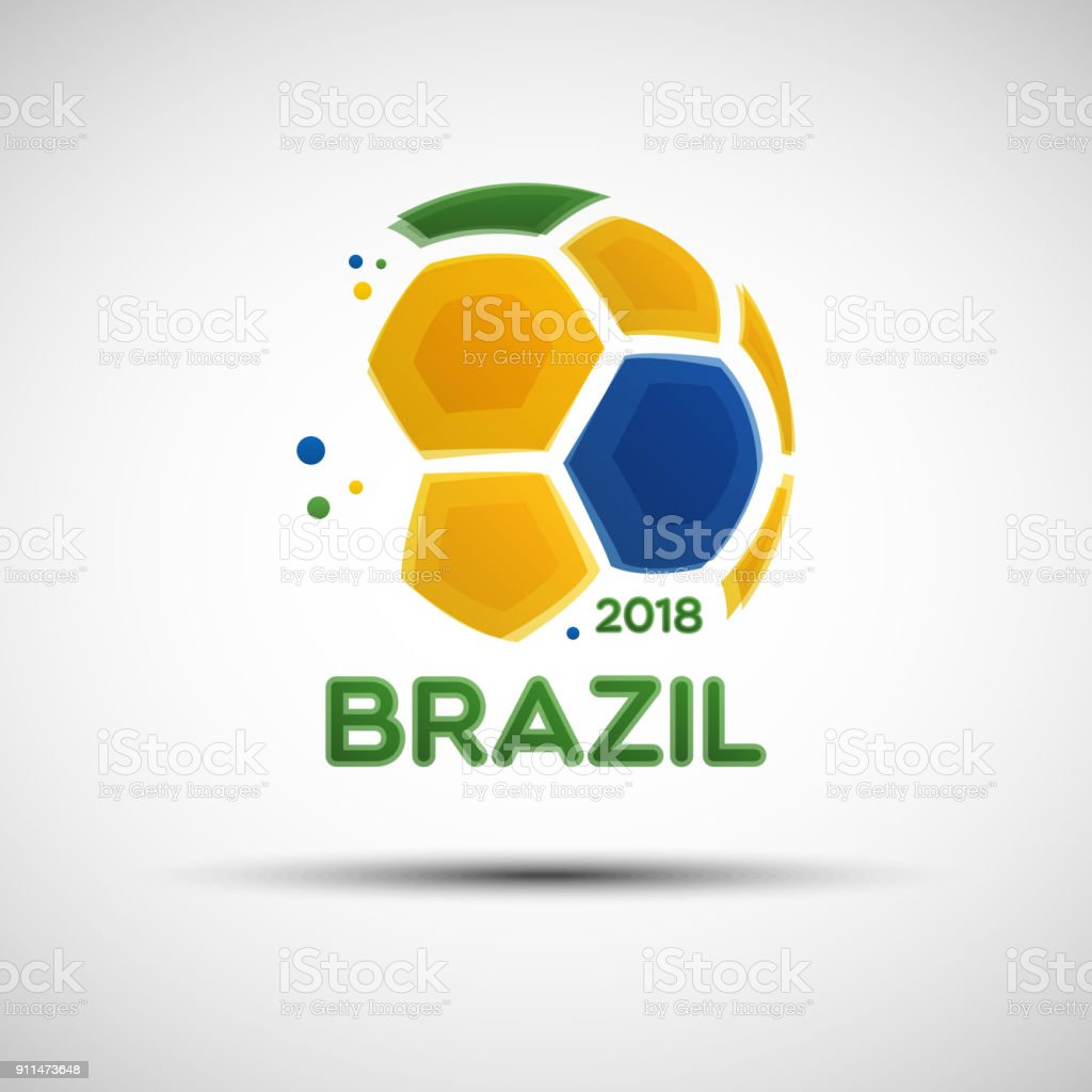 Abstract soccer ball with Brazilian national flag colors vector art illustration