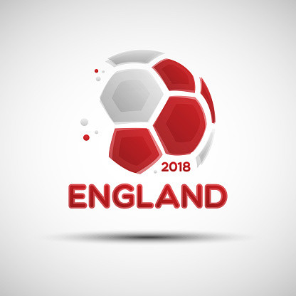 Abstract soccer ball with English national flag colors