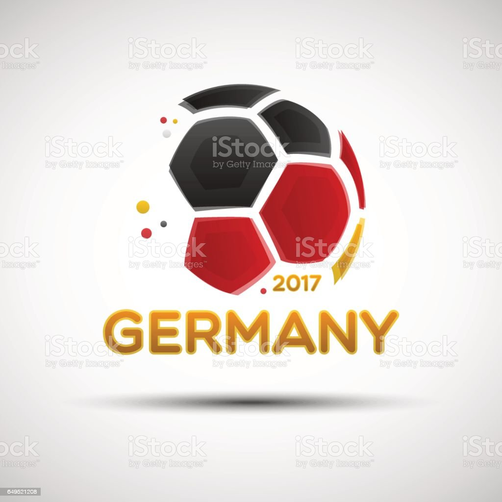 Abstract soccer ball with German national flag colors vector art illustration