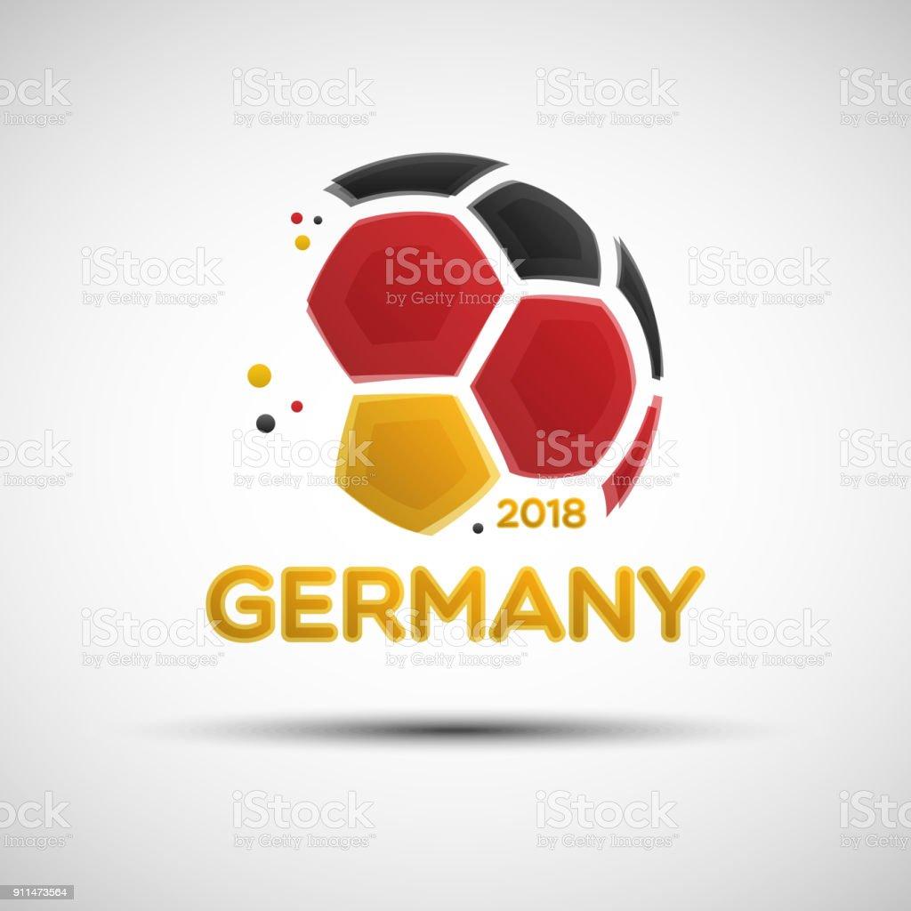 Abstrakte Fußball mit Farben der deutschen Nationalflagge – Vektorgrafik