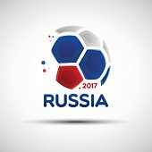 Abstract soccer ball with Russian national flag colors