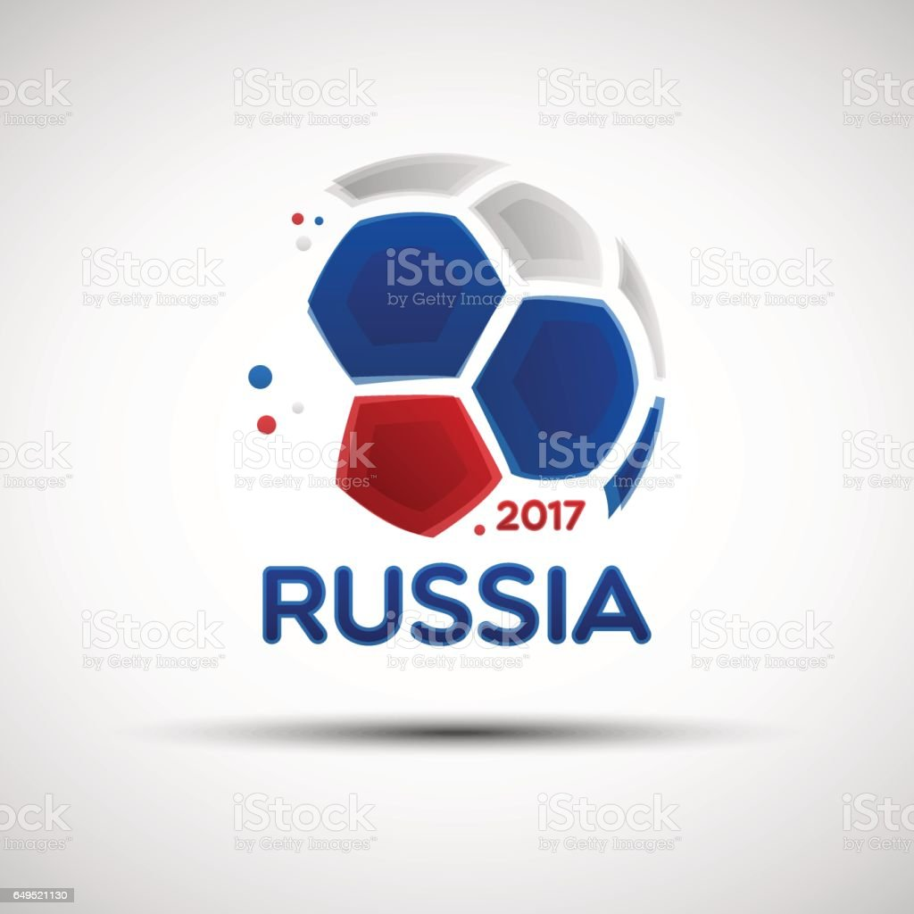 Ballon de soccer abstraite aux couleurs du drapeau national russe - Illustration vectorielle