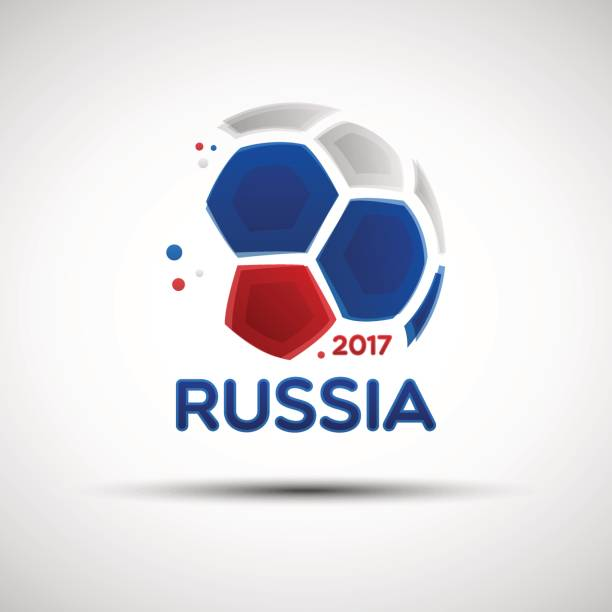 Abstract soccer ball with Russian national flag colors vector art illustration