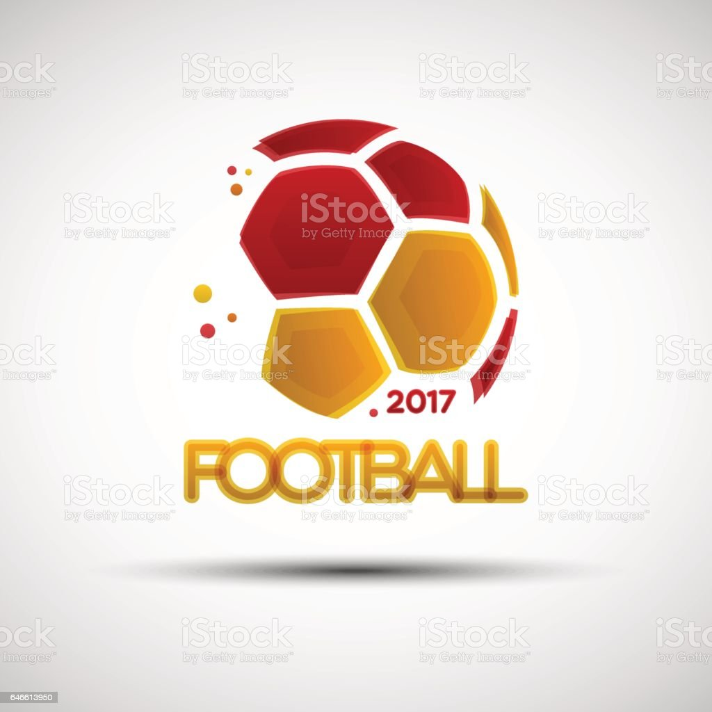 Abstract soccer ball with Spainish national flag colors vector art illustration
