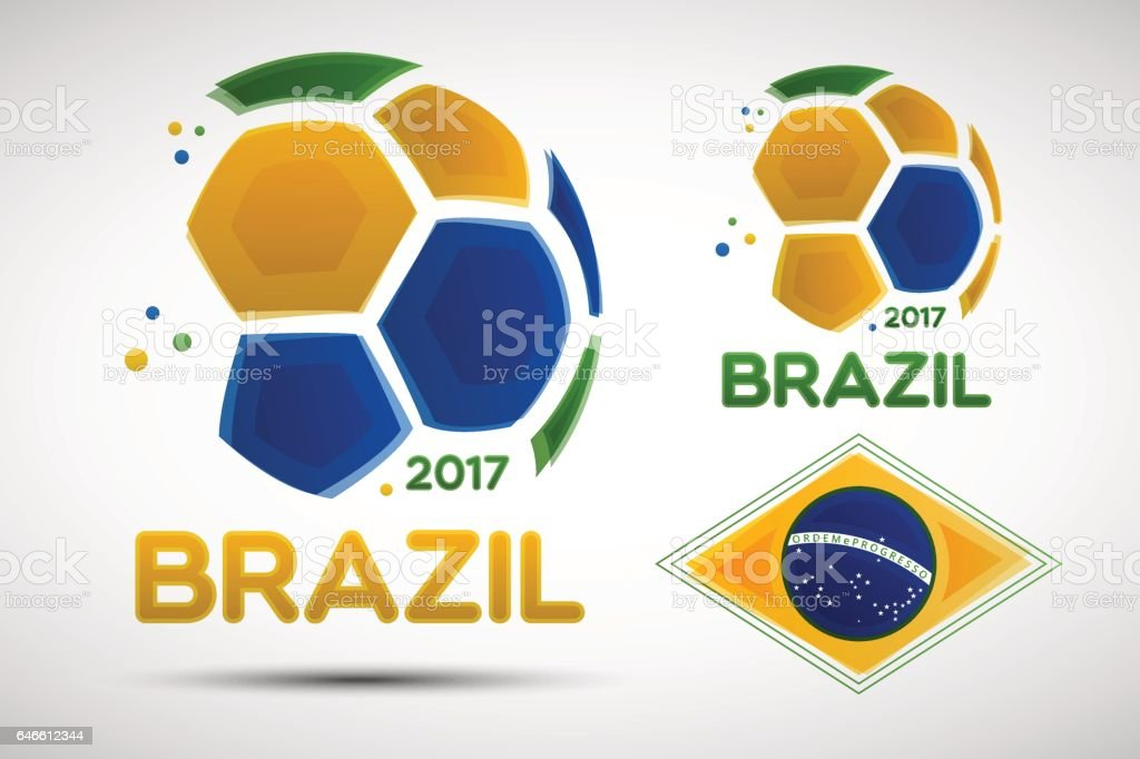 Abstract soccer balls with Brazilian national flag colors vector art illustration