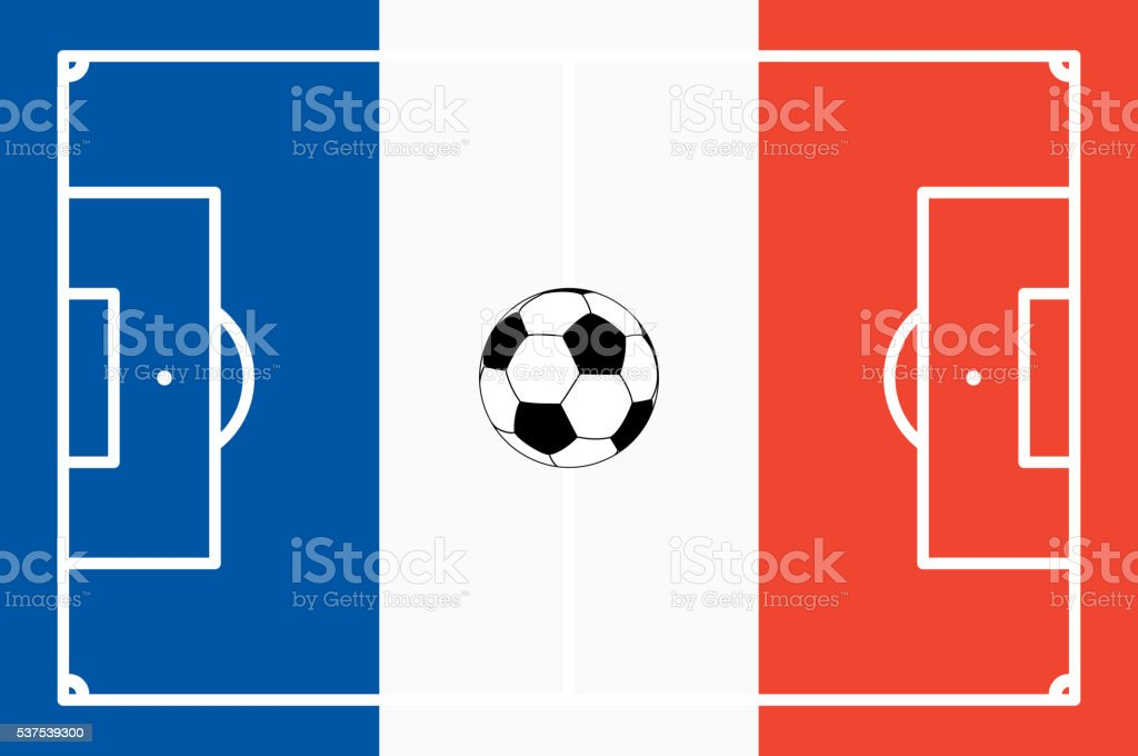 Abstrait terrain de football avec des couleurs nationales de la France - Illustration vectorielle