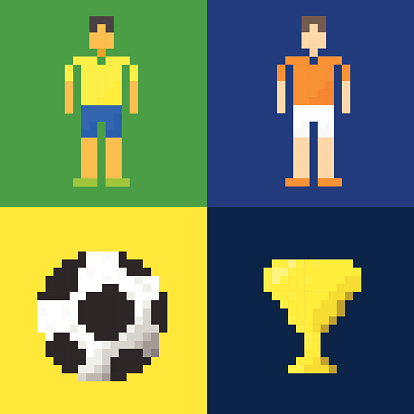 Abstract Soccer icon. Pixel concept.