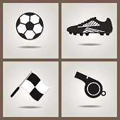 Abstract soccer icons set on gray gradient background