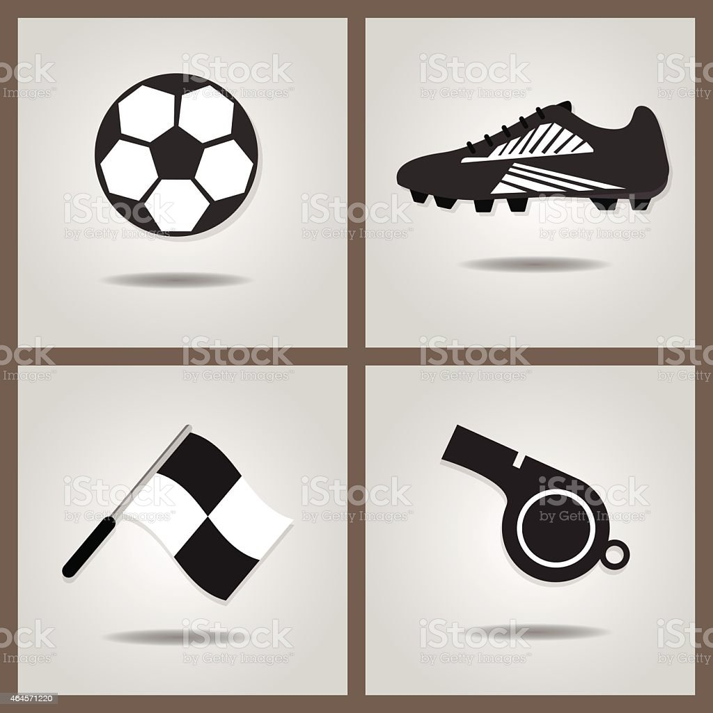 Abstract soccer icons set on gray gradient background vector art illustration