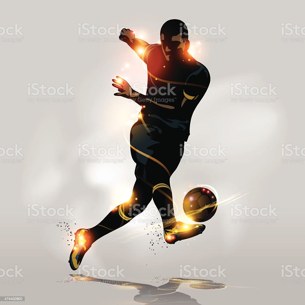 Abstract soccer quick shooting vector art illustration