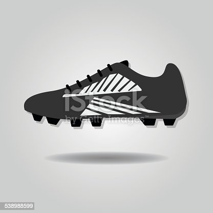 Abstract soccer shoe icon with dropped shadow on gray gradient background