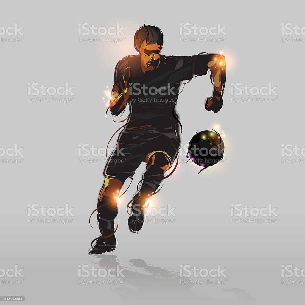 abstract soccer striker vector art illustration
