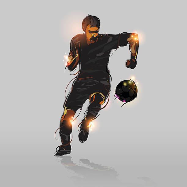stockillustraties, clipart, cartoons en iconen met abstract soccer striker - soccer player