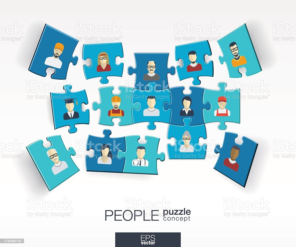 Abstract social background, connected color puzzles, integrated people flat icons vector art illustration