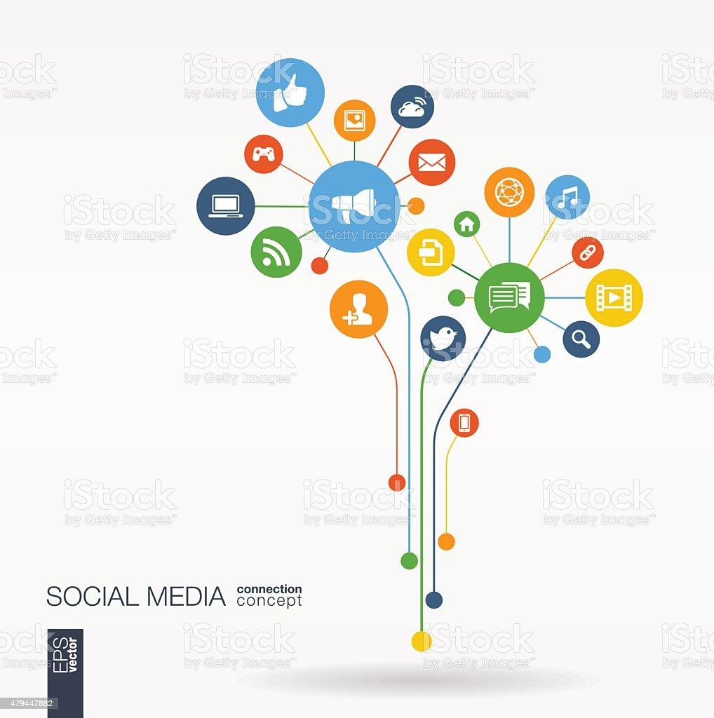 Mídias sociais, plano de fundo abstrato com linhas conectadas círculos, TV e ícones de clipart. - ilustração de arte em vetor