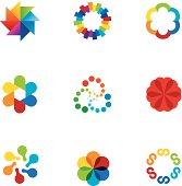 Abstract social partnership community company bond colorful app logo icons.