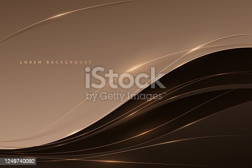 istock Abstract soft brown color background with gold lines 1249740092