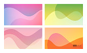 Abstract soft gradient background set. 16:9 screen format. Perfect for web applications, brochures, design templates and business presentations. Purple, green, millenial pink, orange.