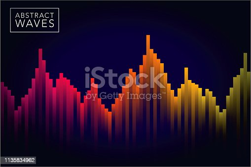 An abstract dotted sound wave. File is built in RGB for saturated colors but can easily be converted to CMYK for print.